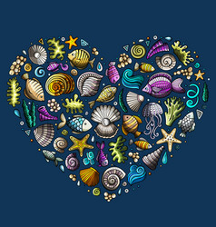 colorful set of marine life objects vector image