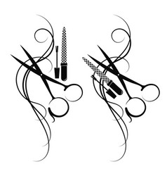 scissors and hair silhouette vector image