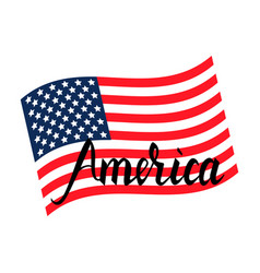 american flag with inscription brush america vector image