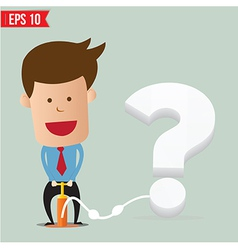 Cartoon Business man pumping question balloon vector image vector image