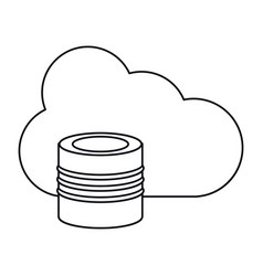 cloud data base technology thin line vector image