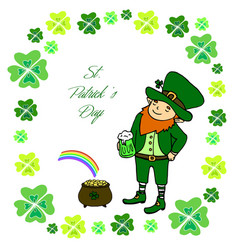 funny little leprechaun with a mug of green beer vector image vector image