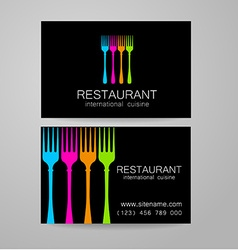 restaurant logo business card template vector image vector image