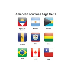 American countries flags Set 1 vector image