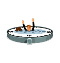 Businessman drowning in time vector image