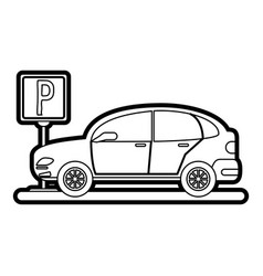 car and street sign vector image