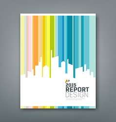 Cover Annual report silhouette building colorful vector image