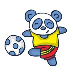Panda playing football vector image vector image