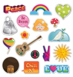peace and love stickers vector image vector image