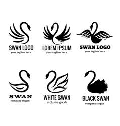 Swan logo set black logotypes vector image