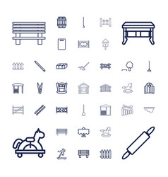 37 wooden icons vector