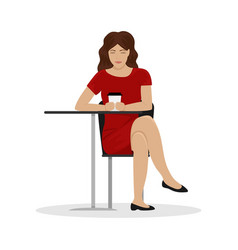 a girl with a cup of coffee at a table in a cafe vector image