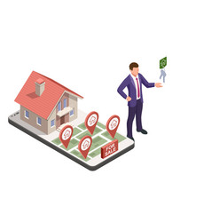 a real estate agent offers a home for rent vector image