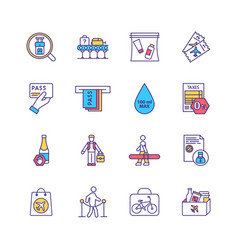 Airport security regulations rgb color icons set vector