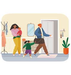 Angry man leaving family after conflict woman vector