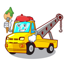 Artist cartoon tow truck isolated on rope vector