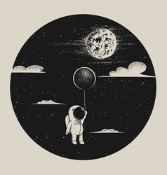 Astronaut fly to moon vector