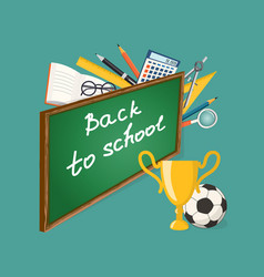 Banner back to school with football ball and cup vector