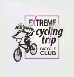 Banner on theme extreme cycling trip vector
