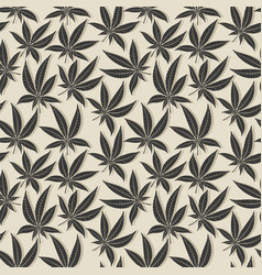 Black cannabis leaf seamless pattern vector