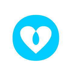 blue love intersection circle symbol design vector image