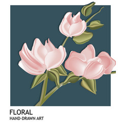 Botanical hand-drawn card template design pink vector