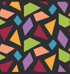 bright simple shapes on black seamless pattern vector image