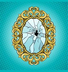 Broken mirror pop art vector