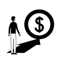 businessman with money coin arrrow vector image
