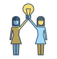 businesswomen holding bulb idea solution vector image
