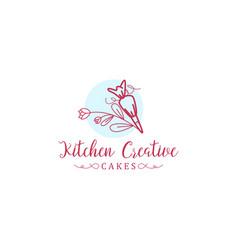 Cake maker logo design kitchen vector