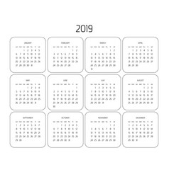 Calendar - year 2019 week starts from vector