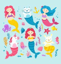 cat unicorn mermaid graphic happy magic mermaids vector image