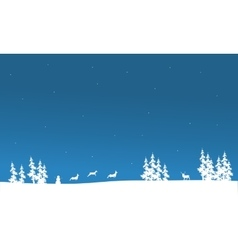 Christmas scenery of silhouette vector