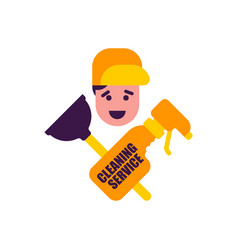 cleaning service logo rubber plunger and cleaning vector image