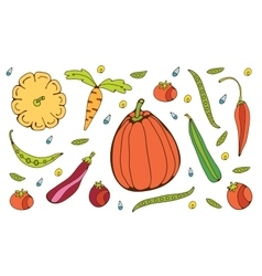 Colorful hand drawn vegetables set vector