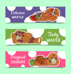 Crispy wafer banner chocolate cream flavor belgian vector