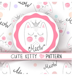 cute little princess - seamless pattern vector image