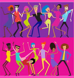 dancing cartoon people vector image