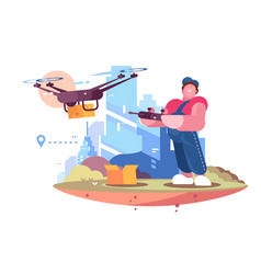delivery man in form controlling drone behind city vector image