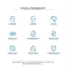 Digital technology creative symbols set font vector