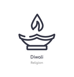 Diwali outline icon isolated line from religion vector