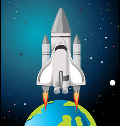 earth and rocket scene vector image
