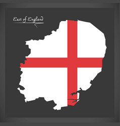 East of england map with flag of england vector
