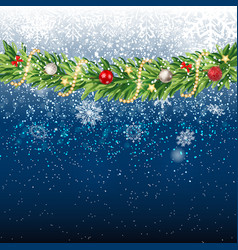 fir branches with snow merry christmas and new vector image