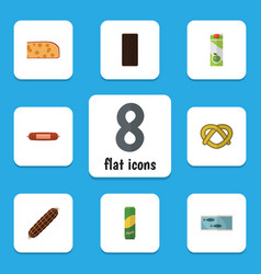 Flat icon eating set of spaghetti tin tuna vector