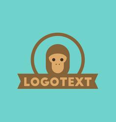 Flat icon on background monkey logo vector