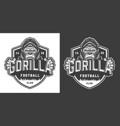 Football club angry gorilla mascot label vector