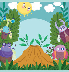 Funny bugs animals with anthill vegetation leaves vector