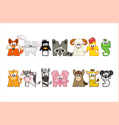 Funny cartoon word animals set funny letters vector